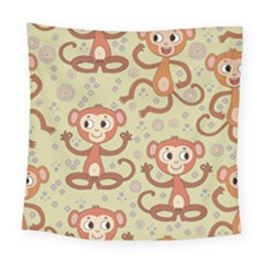 Cute Cartoon Monkeys Pattern Square Tapestry (large)