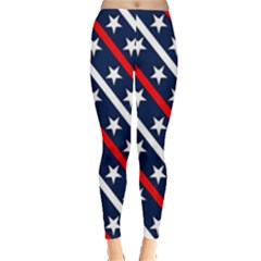 Patriotic Red White Blue Stars Leggings