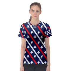 Patriotic Red White Blue Stars Women s Sport Mesh Tee