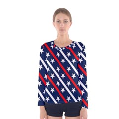 Patriotic Red White Blue Stars Women s Long Sleeve Tee