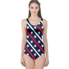 Patriotic Red White Blue Stars One Piece Swimsuit