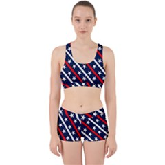 Patriotic Red White Blue Stars Work It Out Sports Bra Set