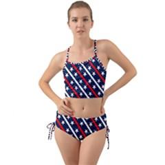 Patriotic Red White Blue Stars Mini Tank Bikini Set