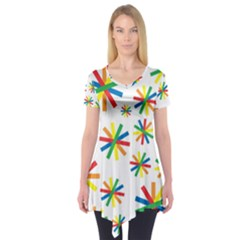 Celebrate Pattern Colorful Design Short Sleeve Tunic
