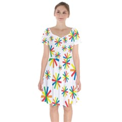 Celebrate Pattern Colorful Design Short Sleeve Bardot Dress