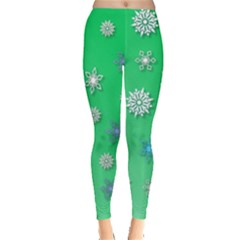 Snowflakes Winter Christmas Overlay Leggings