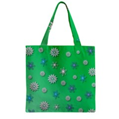 Snowflakes Winter Christmas Overlay Zipper Grocery Tote Bag
