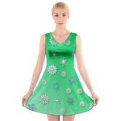 Snowflakes Winter Christmas Overlay V Neck Sleeveless Skater Dress