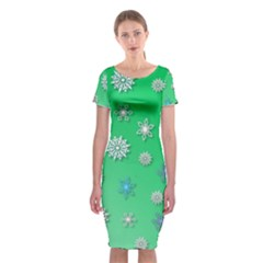 Snowflakes Winter Christmas Overlay Classic Short Sleeve Midi Dress