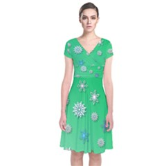 Snowflakes Winter Christmas Overlay Short Sleeve Front Wrap Dress