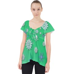Snowflakes Winter Christmas Overlay Lace Front Dolly Top