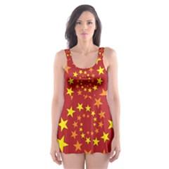 Star Stars Pattern Design Skater Dress Swimsuit
