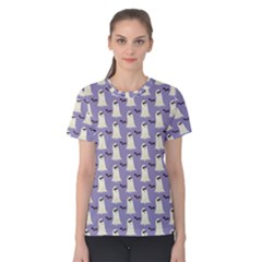 Bat And Ghost Halloween Lilac Paper Pattern Women s Cotton Tee