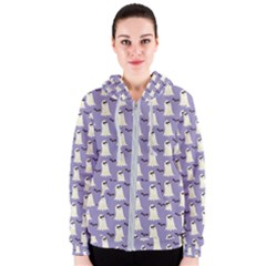 Bat And Ghost Halloween Lilac Paper Pattern Women s Zipper Hoodie