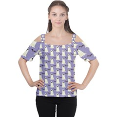Bat And Ghost Halloween Lilac Paper Pattern Cutout Shoulder Tee