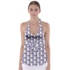 Bat And Ghost Halloween Lilac Paper Pattern Babydoll Tankini Top