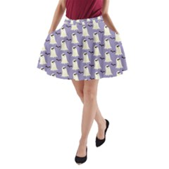 Bat And Ghost Halloween Lilac Paper Pattern A Line Pocket Skirt