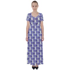 Bat And Ghost Halloween Lilac Paper Pattern High Waist Short Sleeve Maxi Dress