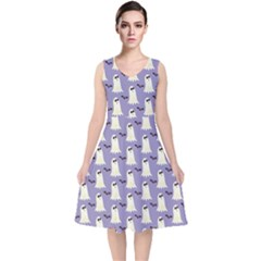 Bat And Ghost Halloween Lilac Paper Pattern V Neck Midi Sleeveless Dress