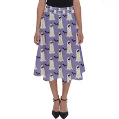 Bat And Ghost Halloween Lilac Paper Pattern Perfect Length Midi Skirt