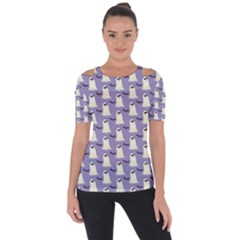 Bat And Ghost Halloween Lilac Paper Pattern Short Sleeve Top