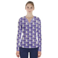 Bat And Ghost Halloween Lilac Paper Pattern V Neck Long Sleeve Top