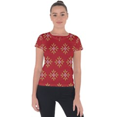 Pattern Background Holiday Short Sleeve Sports Top