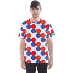 Geometric Design Red White Blue Men s Sports Mesh Tee