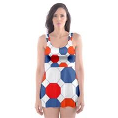 Geometric Design Red White Blue Skater Dress Swimsuit