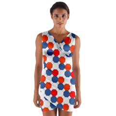 Geometric Design Red White Blue Wrap Front Bodycon Dress