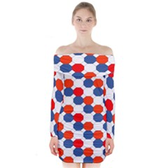 Geometric Design Red White Blue Long Sleeve Off Shoulder Dress