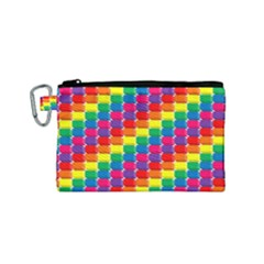 Rainbow 3d Cubes Red Orange Canvas Cosmetic Bag (small)