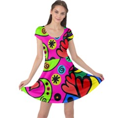 Seamless Tile Background Abstract Cap Sleeve Dress