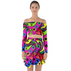 Seamless Tile Background Abstract Off Shoulder Top With Skirt Set