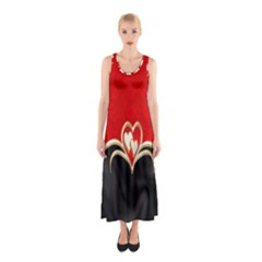 Red Black Background Wallpaper Bg Sleeveless Maxi Dress