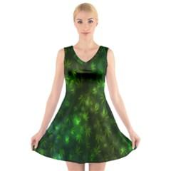 Bokeh Background Texture Marijuana V Neck Sleeveless Skater Dress