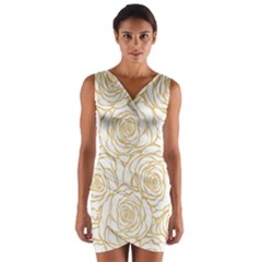 Yellow Peonies Wrap Front Bodycon Dress