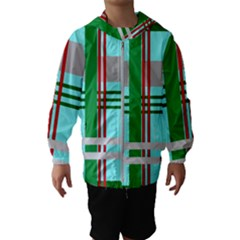 Christmas Plaid Backgrounds Plaid Hooded Wind Breaker (kids)