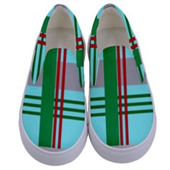 Christmas Plaid Backgrounds Plaid Kids  Canvas Slip Ons