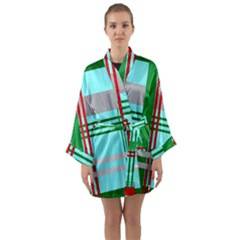 Christmas Plaid Backgrounds Plaid Long Sleeve Kimono Robe