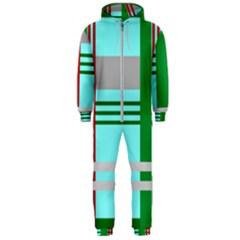 Christmas Plaid Backgrounds Plaid Hooded Jumpsuit (men)