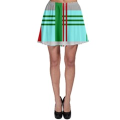 Christmas Plaid Backgrounds Plaid Skater Skirt