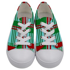 Christmas Plaid Backgrounds Plaid Kids  Low Top Canvas Sneakers