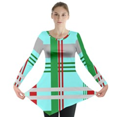 Christmas Plaid Backgrounds Plaid Long Sleeve Tunic