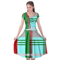 Christmas Plaid Backgrounds Plaid Cap Sleeve Wrap Front Dress