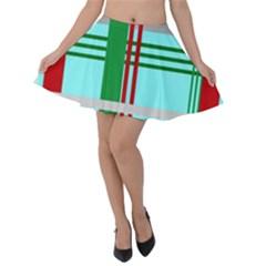 Christmas Plaid Backgrounds Plaid Velvet Skater Skirt