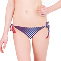 Dots Red White Blue Gradient Bikini Bottom