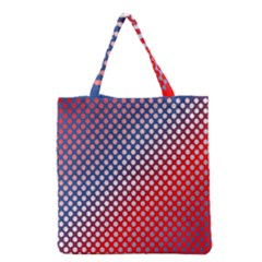 Dots Red White Blue Gradient Grocery Tote Bag