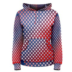 Dots Red White Blue Gradient Women s Pullover Hoodie