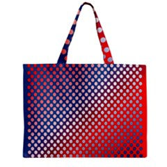 Dots Red White Blue Gradient Zipper Mini Tote Bag